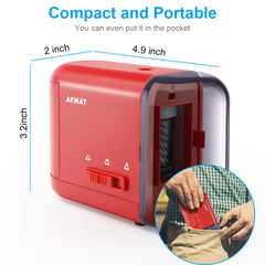 Electric Pencil Sharpener for Colored Pencils (6-8mm) with Adapter Red-PS77