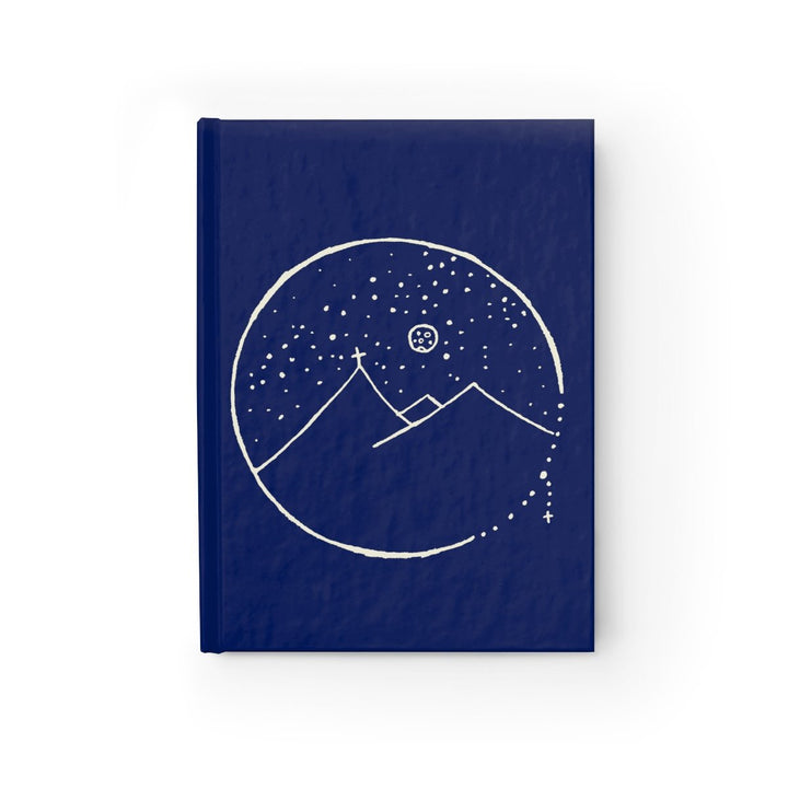 Midnight Blue Journal With Cross Mountain Scene