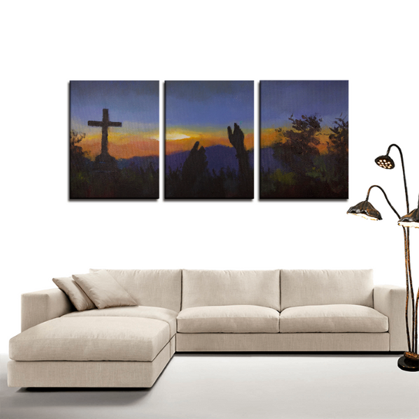 Cross Mountain Painting 3-Panel Canvas Set