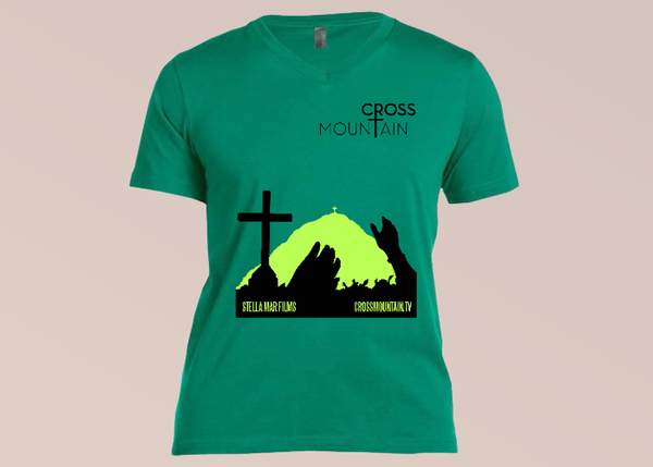 Cross Mountain T-Shirt - Kelly Green V-Neck