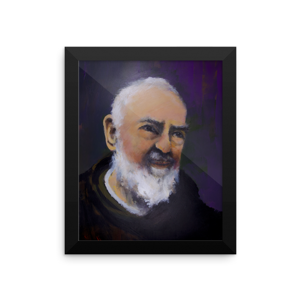 Framed Padre Pio Painting Poster