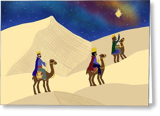 Three Wisemen On A Journey - Greeting Card