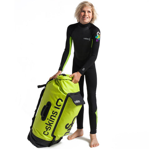 C-Skins Junior Element 3/2mm Back Zip Wetsuit - Black/Lime/Multi
