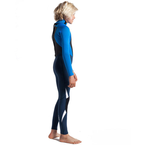 C-Skins Junior Legend 4/3mm Back Zip Wetsuit-Bluestone/Cyan/White