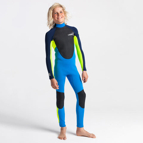 C-Skins Junior Element 3/2mm BZ Full Wetsuit - Cyan / Yellow
