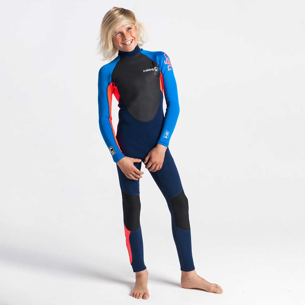 C-Skins Junior Element 3/2mm BZ Full Wetsuit - Navy/Flo Red/Cyan