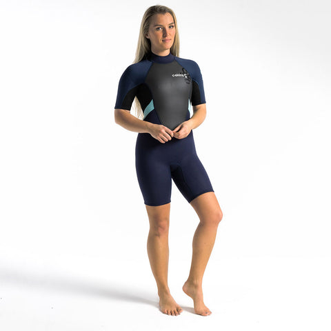 C Skins Womens Element 3/2 Shortie Wetsuit - Slate/Black/Ice Blue