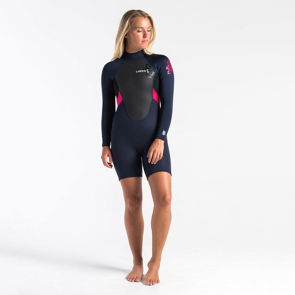 C Skins Womens Element 3/2 Long Sleeved Shortie-Slate/Black/Coral