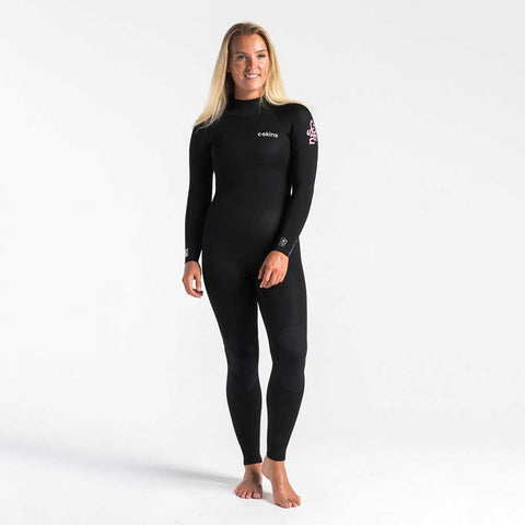 C-Skins Womens Surflite 3/2mm BZ Wetsuit-Black/Heather Rose/Rose