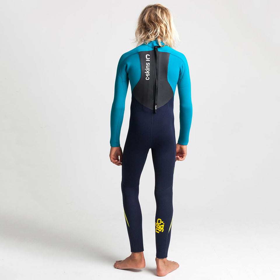 C Skins Junior Legend 5/4/3 Back Zip Full Wetsuit  - Slate/Ocean