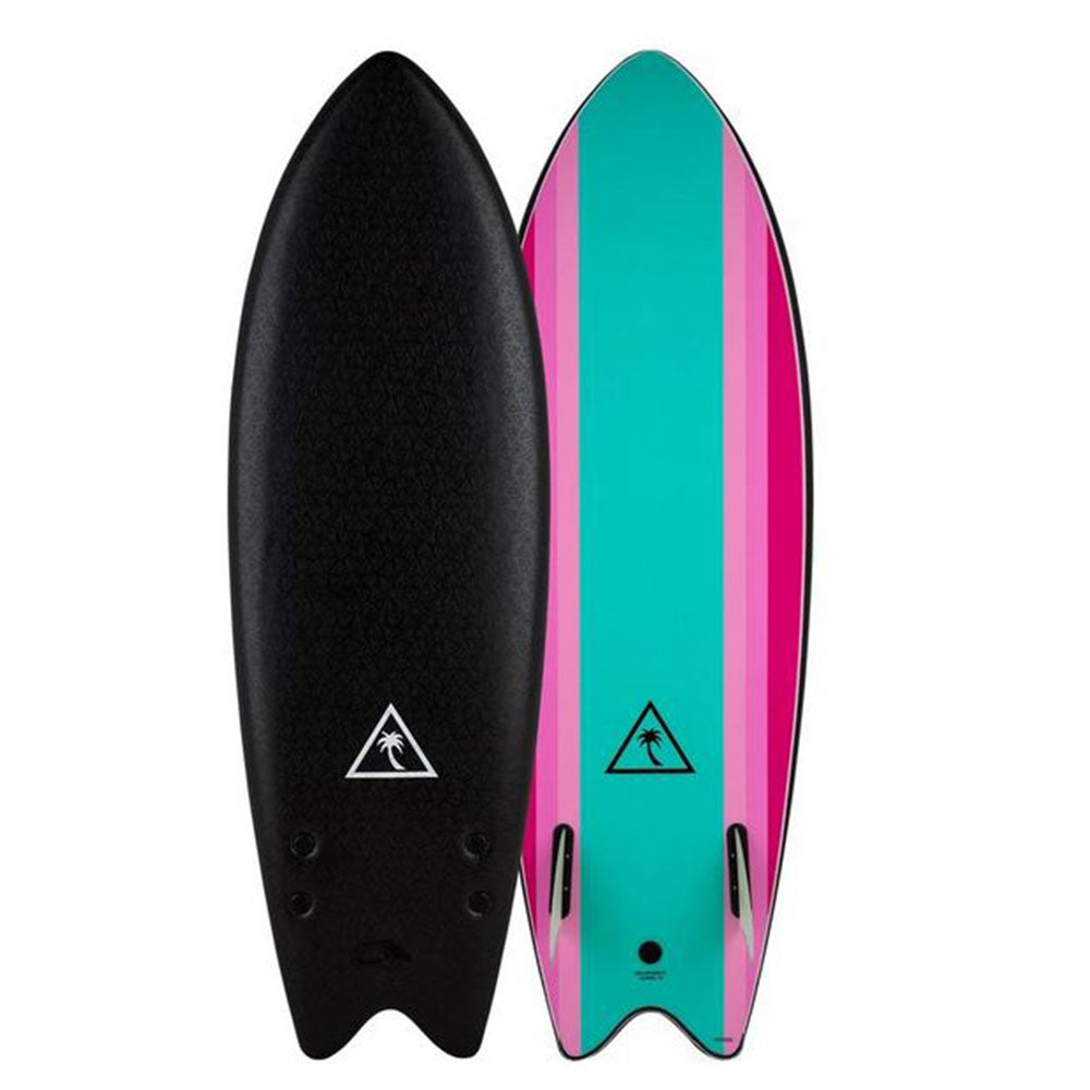 Catch Surf 5'6 Retro Twin Fin Fish Softboard - Black Turquoise