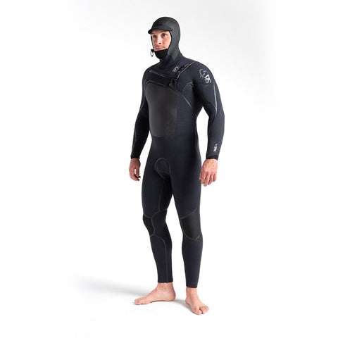 C Skins Wired 5/4mm LQS Hooded C/Z Wetsuit -Black X/Black X/Black