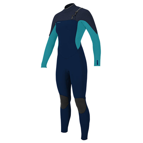 O'Neill Womens Hyperfreak 4/3mm+ Chest Zip Wetsuit Abyss Turq