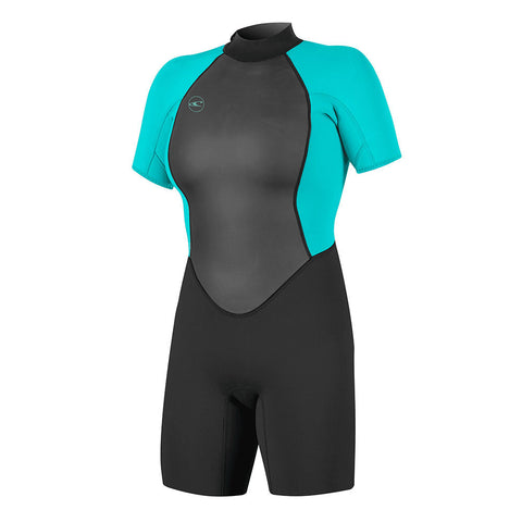 O'Neill Womens Reactor 2 2mm BZ Shorty Wetsuit - Black/Light Aqua
