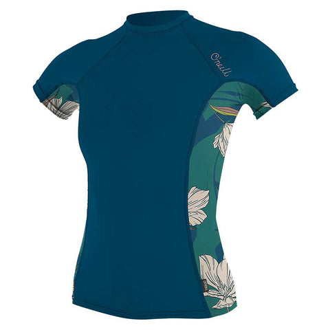 O'Neill Womens Side Print Short Sleeve Rash Guard - Navy/Bridget