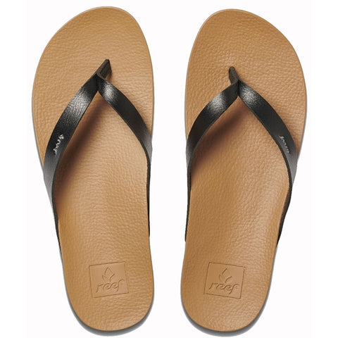 Reef Womens Cushion Bounce Court Flip Flops - Black/Natural