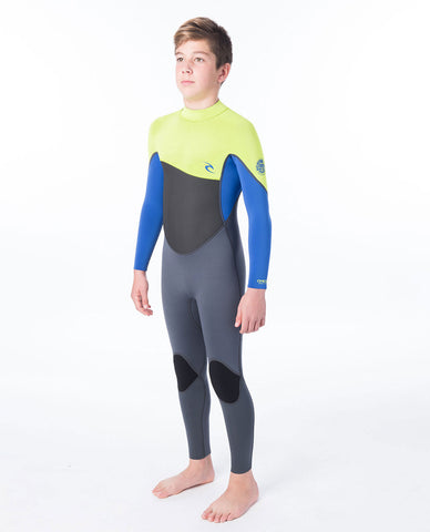 Rip Curl Junior Omega 4/3mm Back Zip Full Wetsuit  - Lime