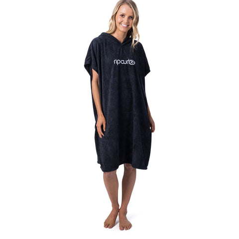 Rip Curl Womens Surf Essentials Hooded Changing Towel  - Black