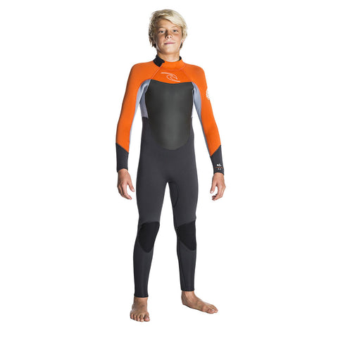 Rip Curl Junior Dawn Patrol 4/3mm Back Zip Wetsuit  - Grey/Orange