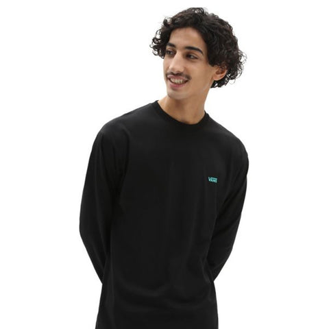 Vans Left Chest Hit Long Sleeve T Shirt  - Black/Waterfall