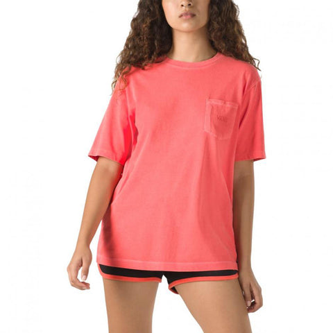Vans Womens Pocket V T Shirt  - Hot Coral