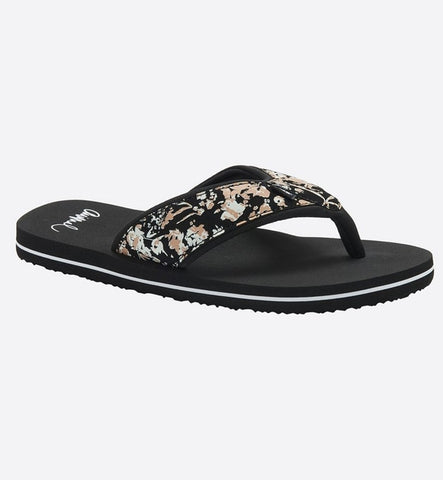 Animal Womens Swish Upper AOP Flip Flops - Black
