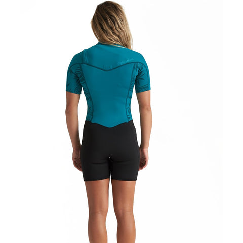 Billabong Womens Synergy 2mm Chest Zip Shortie Wetsuit - Mermaid