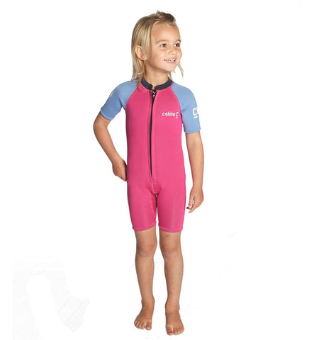 C Skins Baby C Kid Shortie Wetsuit - Magenta/Powder Blue/Slate