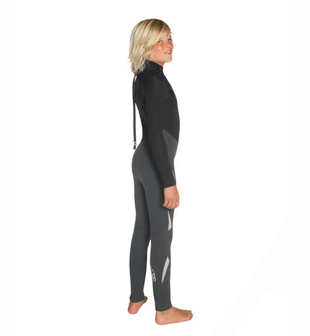 C Skins Junior Legend 5/4/3 GBS Back Zip Full Wetsuit - Black/Gra