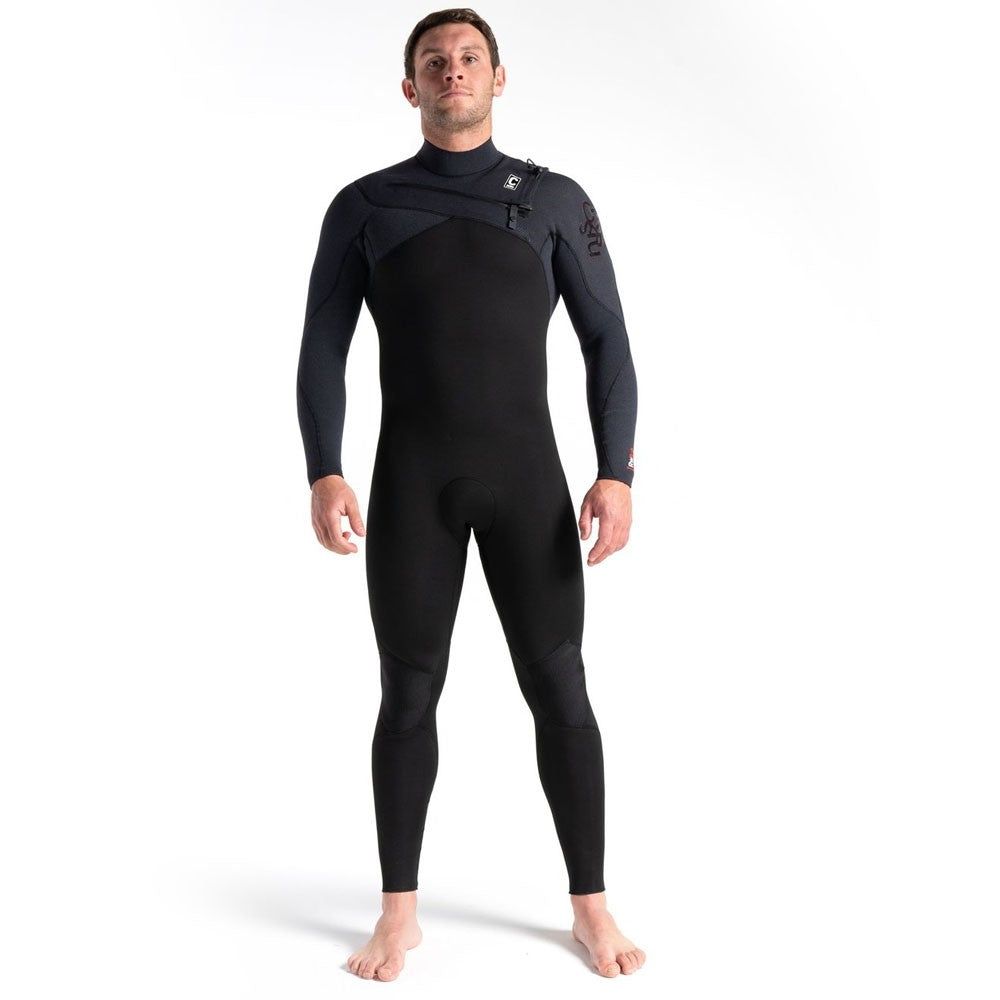 C-Skins ReWired 3/2mm Chest Zip Full Wetsuit-Black/Black/Warm Red
