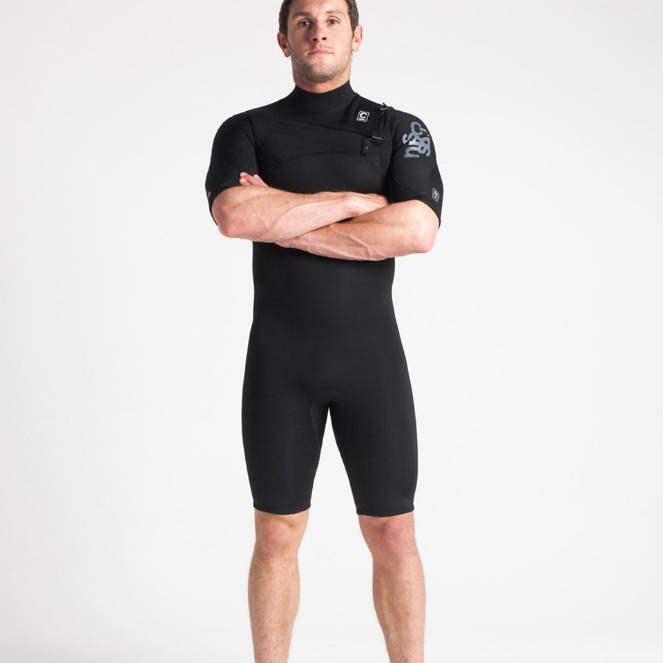 C Skins Session 3/2 GBS Chest Zip Shortie Wetsuit - Black/Black/