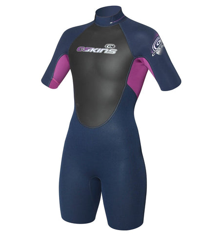 C Skins Girls Element Navy Violet 3/2mm Shorti Wetsuit