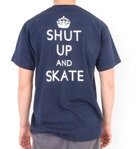Shut Up and Skate T Shirt back blue