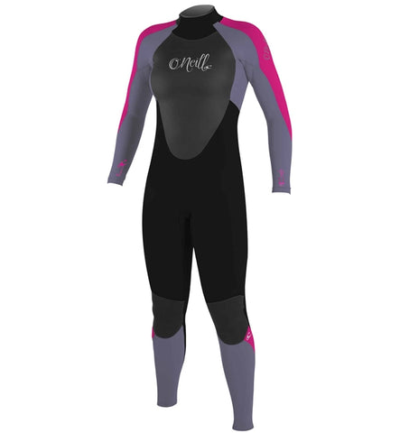 O'Neill Girls Epic 5/4 Back Zip Full Wetsuit  - Black/Mist/Berry
