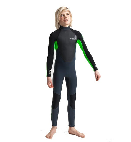 C-Skins Junior Element 3/2 Full Wetsuit - Graphite Flo Green