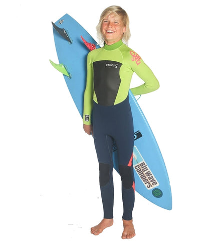 C-Skins Junior Legend 4/3 GBS Back Zip Full Wetsuit Navy Lime