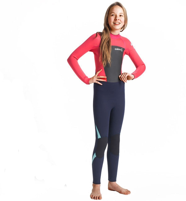 C Skins Junior Legend 4/3 Back Zip Full Wetsuit - Slate Coral