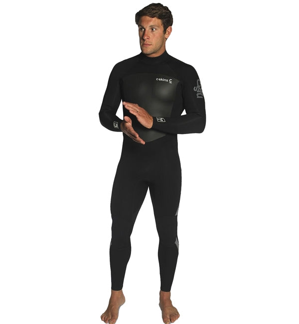 C-Skins Mens Legend 3/2 GBS Back Zip Full Wetsuit - Black Grey