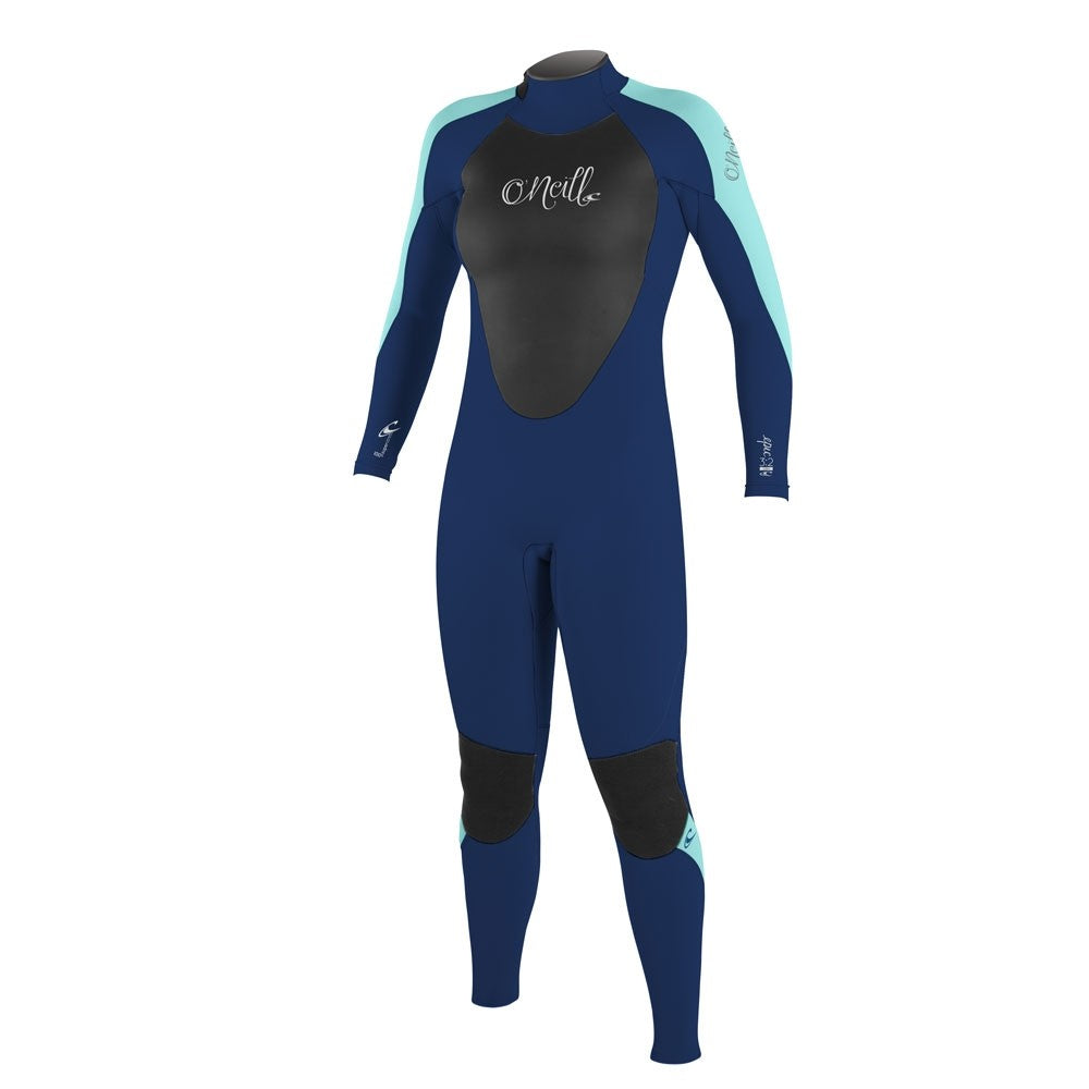 O'Neill Womens Epic 3/2mm BZ Full Wetsuit  - Navy/Navy/Light Aqua