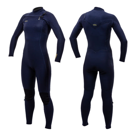 O'Neill Womens Hyperfreak 4/3mm+ Chest Zip Wetsuit Abyss