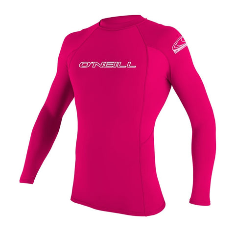 O'Neill Youth Basic Skins Long Sleeve Rash Guard  - Watermelon