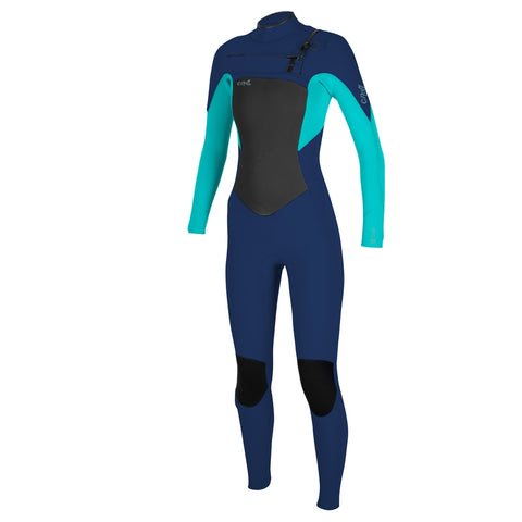 O'Neill Womens Epic 5/4 Chest Zip Full Wetsuit - Navy/Light Aqua