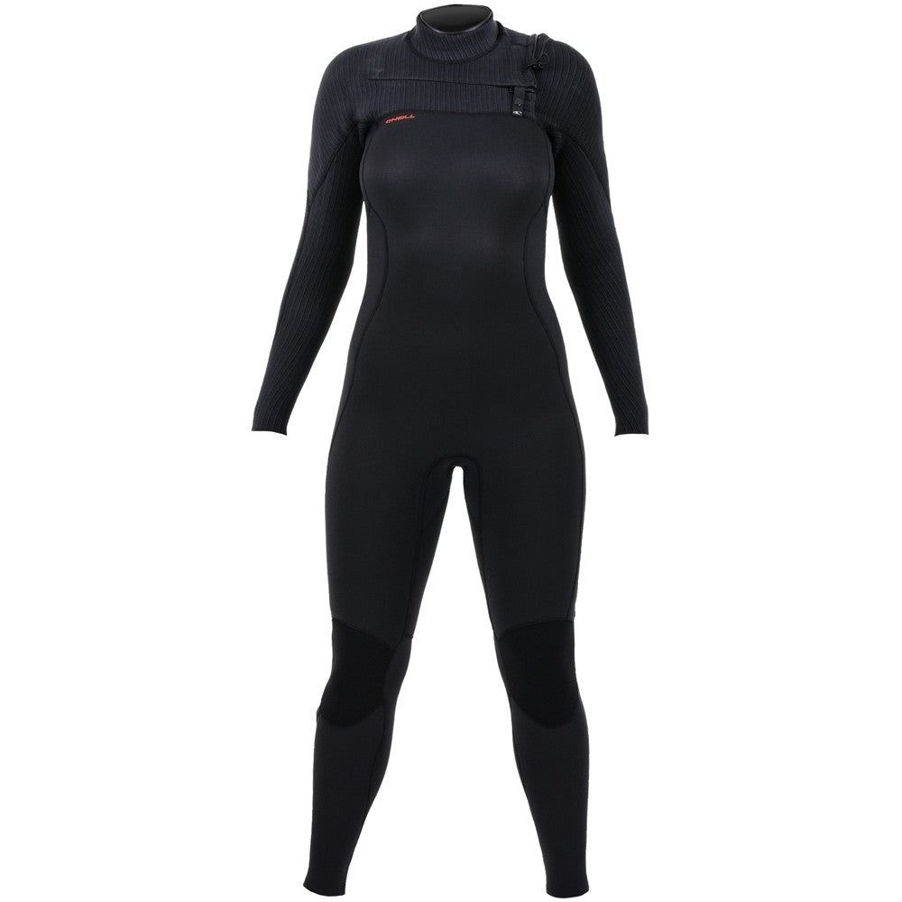 O'Neill Womens Hyperfreak 4/3mm Chest Zip Wetsuit - Black/Black