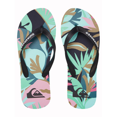 Quiksilver Molokai Tropical Flow Flip Flops - Black/Green/Black