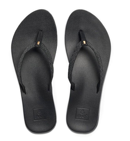 Reef Womens Cushion Bounce Woven Flip Flops - Black