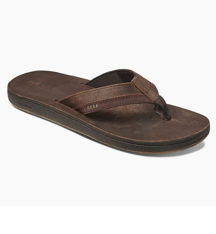 Reef Leather Contoured Cushion Flip Flops  - Chocolate
