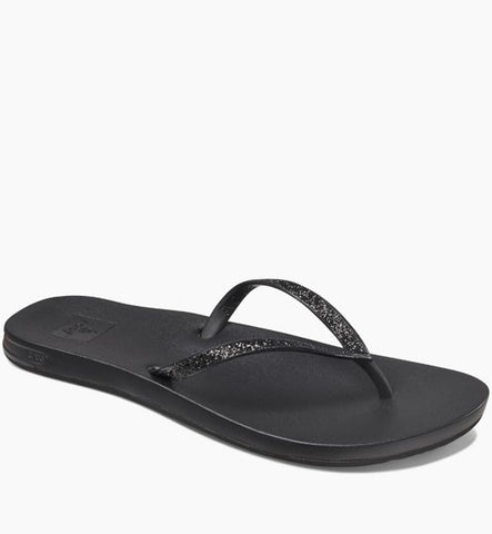 Reef Womens Cushion Bounce Stargazer Flip Flops - Black