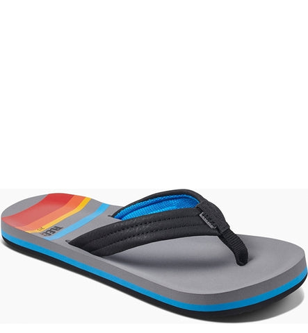 Reef Boys Little Ahi Flip Flops - Grey Pinstripes