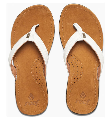 Reef Womens Miss J-Bay Flip Flops - Tan/White