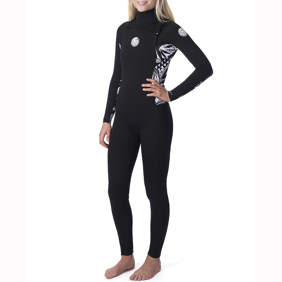 Rip Curl Womens Dawn Patrol 5/3mm Chest Zip Full Wetsuit - Black